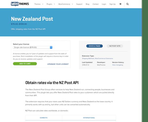 Extensión para WooCommerce: New Zealand Post