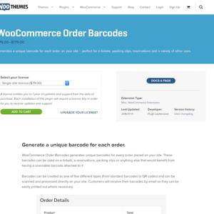 Extensión para WooCommerce: Order Barcodes