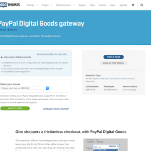 Extensión para WooCommerce: PayPal Digital Goods Gateway