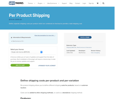 Extensión para WooCommerce: Per Product Shipping
