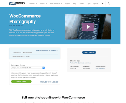 Extensión para WooCommerce: Photography