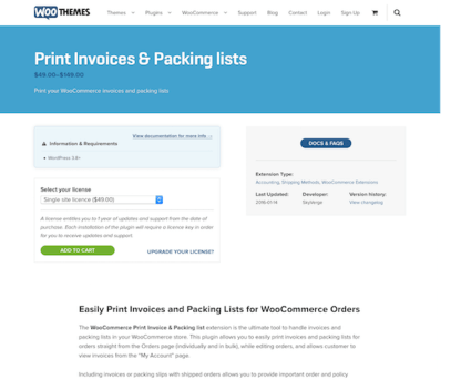 Extensión para WooCommerce: Print Invoices Packaging Lists