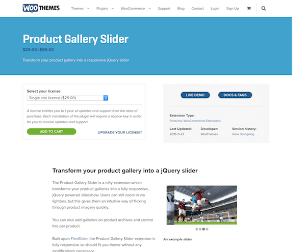 Extensión para WooCommerce: Product Gallery Slider