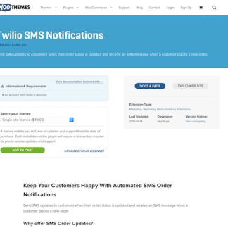 Extensión para WooCommerce: Twilio SMS Notifications