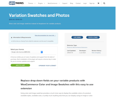 Extensión para WooCommerce: Variation Swatches and Photos