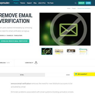 WPMU DEV: Remove Email Verification WordPress Plugin