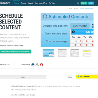 WPMU DEV: Schedule Selected Content WordPress Plugin