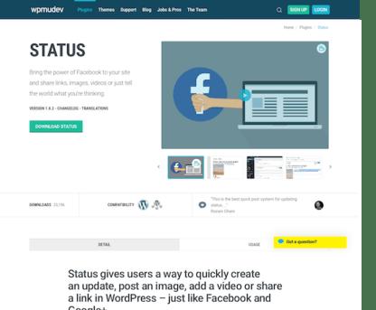 WPMU DEV: Status WordPress Plugin