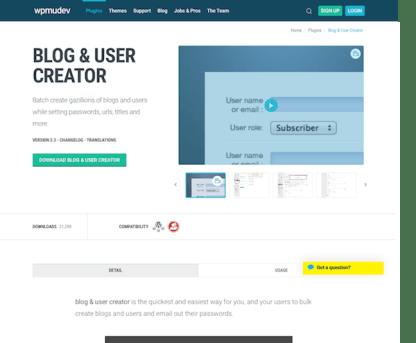 WPMU DEV: Blog and User Creator WordPress Plugin