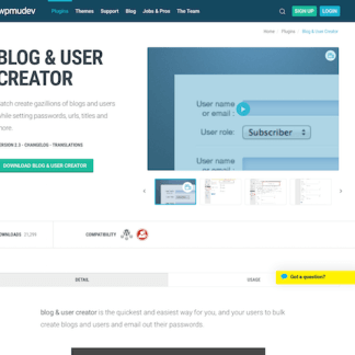 WPMU DEV: Blog and User Creator WordPress Plugin