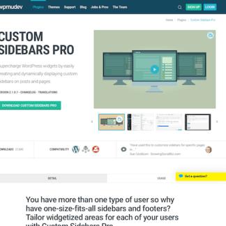 WPMU DEV: Custom Sidebars Pro WordPress Plugin