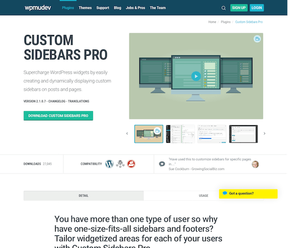 WPMU DEV: Custom Sidebars Pro WordPress Plugin