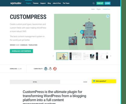 WPMU DEV: CustomPress WordPress Plugin