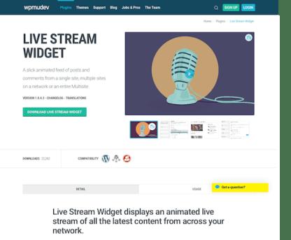 WPMU DEV: Live Stream Widget WordPress Plugin