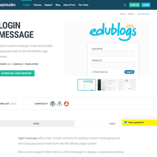 WPMU DEV: Login Message WordPress Plugin