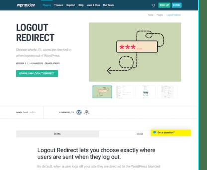 WPMU DEV: Logout Redirect WordPress Plugin