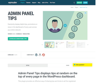 WPMU DEV: Admin Panel Tips WordPress Plugin