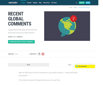 WPMU DEV: Recent Global Comments WordPress Plugin