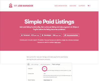 WP Job Manager Add-On: Simple Paid Listings