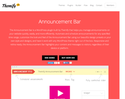 Themify Announcement Bar WordPress Plugin