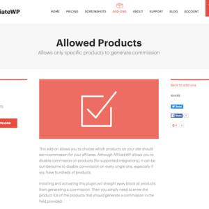 AffiliateWP: Allowed Products