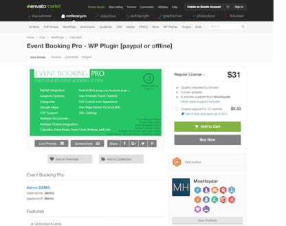 Codecanyon: Event Booking Pro: WP Plugin