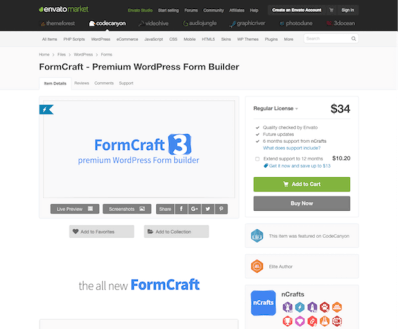 Codecanyon: Formcraft Premium WordPress Form Builder