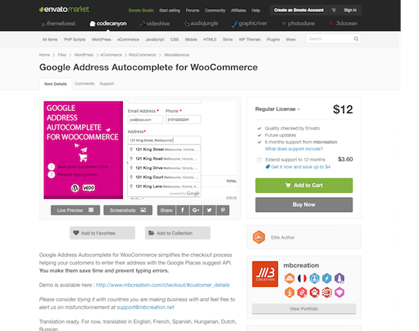 Codecanyon: Google Address Autocomplete for WooCommerce