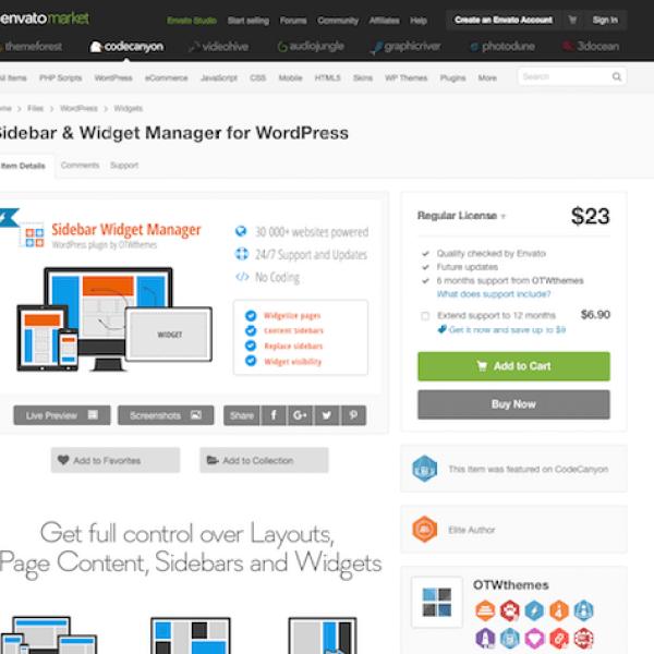 Codecanyon: Sidebar & Widget Manager for WordPress