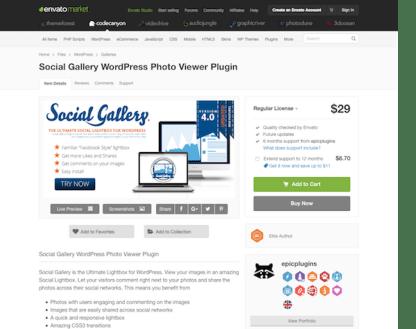 Codecanyon: Social Gallery WordPress Photo Viewer Plugin