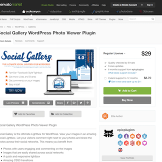 Codecanyon: Social Gallery WordPress Photo Viewer Plugin