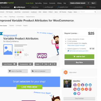 Codecanyon: Improved Variable Product Attributes for WooCommerce