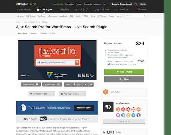 Codecanyon: Ajax Search Pro for WordPress - Live Search Plugin