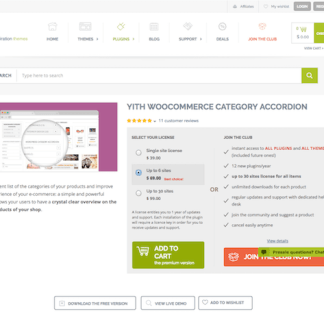 YITH WooCommerce: Category Accordion Premium