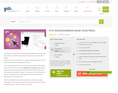 YITH WooCommerce: Name Your Price Premium
