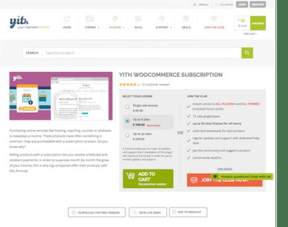 YITH WooCommerce: Subscription Premium