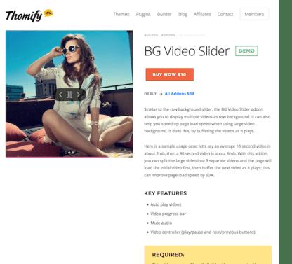 Themify Builder BG Video Slider