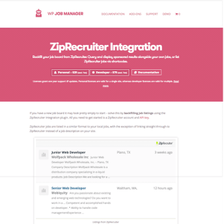 WP Job Manager Add-On: ZipRecruiter Integration
