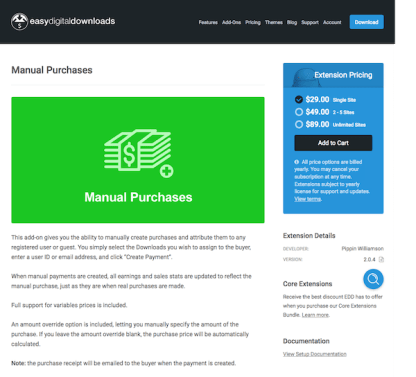 Easy Digital Downloads: Manual Purchases