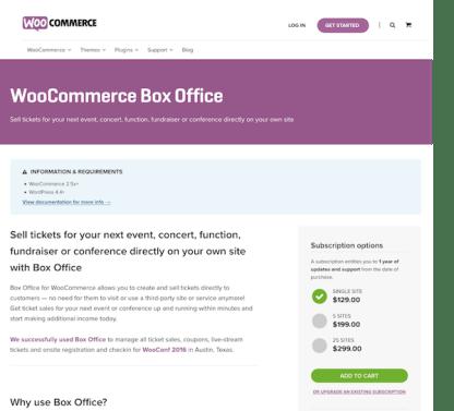 Extensión para WooCommerce: Box Office