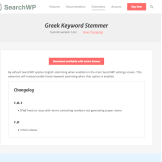 SearchWP: Greek Stemmer