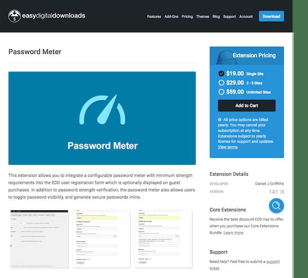 Easy Digital Downloads: Password Meter