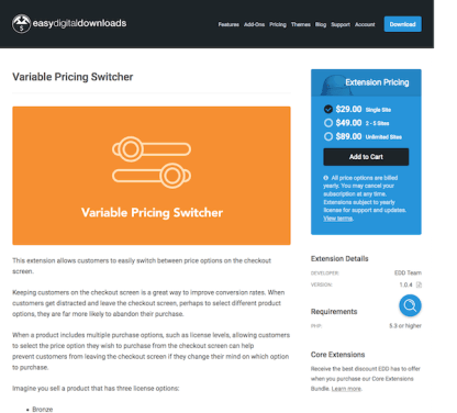 Easy Digital Downloads: Variable Pricing Switcher