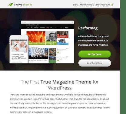 Thrive Themes: Performag WordPress Theme