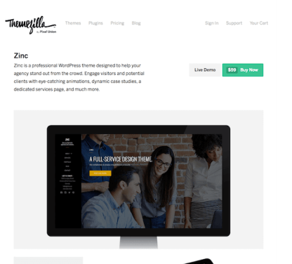 ThemeZilla: Zinc WordPress Theme