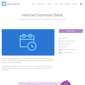Restric Content Pro: Hard-set Expiration Dates