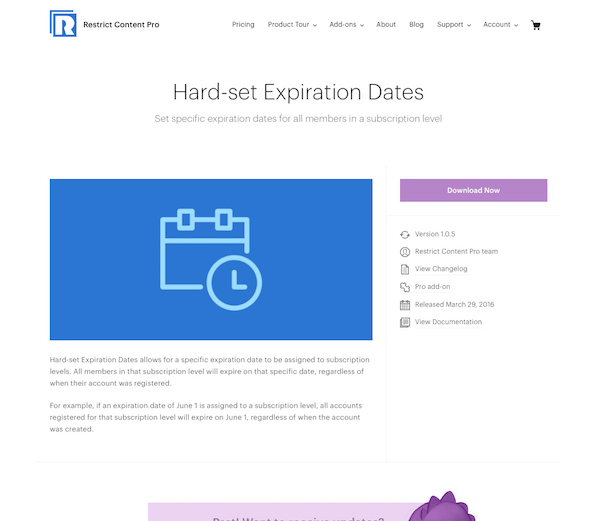 Restric Content Pro: Hard-set Expiration Dates