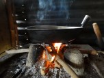 Wood fire in the outside kitchen