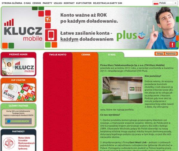 Strona www klucz mobile