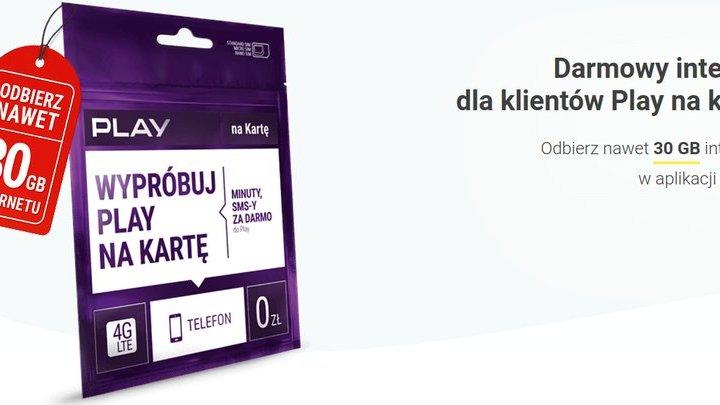 Play na kartę – nawet 30 GB w prezencie przez 3 miesiące, dodatkowo nowe pakiety